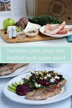 seared pork chops served with a warm salad of roasted beets, granny ...
