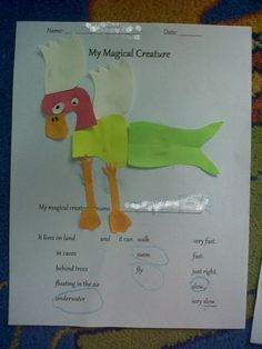 "Hi co-Teachers out there! Maybe something you can try when you go to the Lesson on Animals.    I showed my preschoolers some really weird-looking animals (i.e. Proboscis Monkey) and mythical creatures (i.e. Mermaid)     Since it's Art Day, they made their own animals using pre-cut body parts.        the ""C.Y. Bird."" or ""Siway Bird""    -4y.o. T."