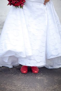 Mrs Bacon's Sparkly Red Wedding TOMS let her dance all night! | Photos by JordanQuinn Photography