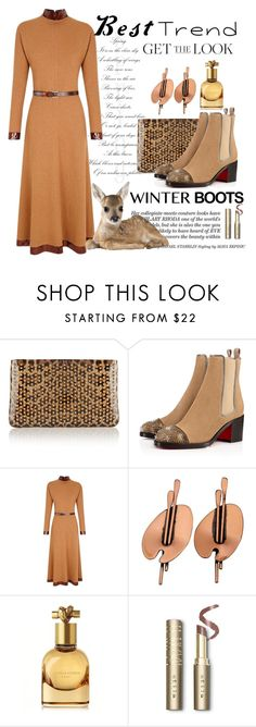 """""""Best Trend... Winter Boots , Get the Look"""" by conch-lady ❤ liked on Polyvore featuring Christian Louboutin, The 2nd Skin Co., Renoir, Bottega Veneta, Stila, GetTheLook, winterboots and besttrend"""
