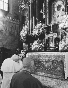 Pope John Paul II praying at the Black Madonna Shrine in Czestochowa, Poland, in 1999.