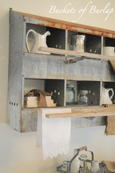Upcycled Galvanized Nest Boxes Buckets of Burlap--going to do something like this--haven't decided where.