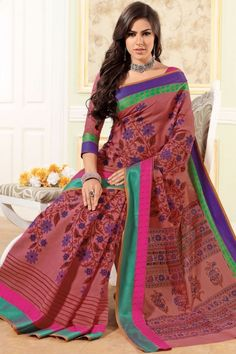 Cerise Red Cotton Printed Casual and Party Saree Sku Code:68-3585SA149641 $ 26.00