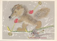 Blank Vintage Postcard with Skiing wolf and mouse from Soviet times - 60s - Soviet illustation - Retro Illustration by Golubev