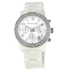 Michel Kors Watch Michael Kors Runway White Ceramic Strap with Glitz Strap Watch Michael Kors Accessories Watches