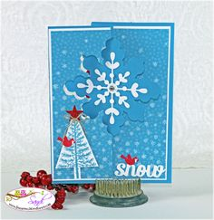 Stampin UP Snowflake Card Thinlit, card by Sandi @ www.stampingwithsandi.com