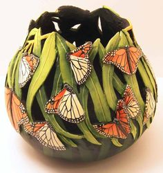 images og cut gourds | Above - This is the middle gourd above, partially cut out and before ...