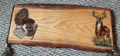 This is a custom Buck and Turkey sign is (MADE TO ORDER) with your lettering.      Sign size, grain, and characteristics differ according to each piece of available wood.  The sign is made from 1st cut slab wood I retrieved from a local Amish saw mill scrap pile.  It is ready for you to customize and will make a fantastic Gift.  It will look great in any rustic decor, a cabin,  or man cave. | Shop this product here: http://spreesy.com/CorteseCreations/27 | Shop all of our products at…