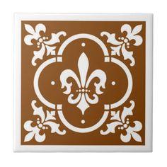 Fancy Fleur De Lis Brown Tile - fancy gifts cool gift ideas unique special diy customize