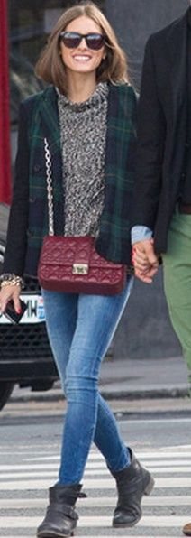 Who made Olivia Palermo's black buckle boots, green plaid coat and red handbag that she wore in New York? Coat – Tibi  Purse – Christian Dior  shoes – Report