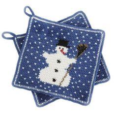 Image result for crochet pattern for snowman potholder