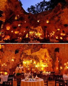 Ali Barbour's Cave Restaurant In Kenya Set In An Ancient Cave And Illuminated Entirely By Candlelight