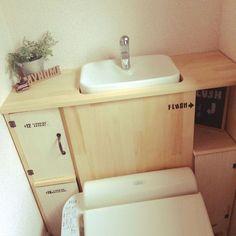 トイレタンク隠し DIY/トイレタンク/トイレタンクを隠す/トイレタンク改造計画/トイレタンクカバーDIY…などのインテリア実例 - 2016-06-24 17:33:16 | RoomClip(ルームクリップ)