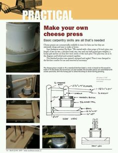 how to make your own cheese press using basic carpentry skills and stuff from the hardware store #diy #cheese