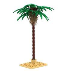 Lego-1x-Tropical-Tall-Palm-Trees-Green-Leaves-Tropical-Island-Scenery