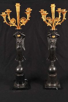 Pair French Bronze Angel Candelabras Clodion