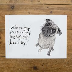 A limited edition Valentine's Pug print from Ben Rothery makes for a fun and alternative print option for newlyweds. Any dog lover will be sure to enjoy this gift.