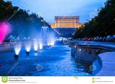 Unirii Boulevard leading to romanian Parliament in Bucharest, Romania, called House of the People (Casa Poporului).