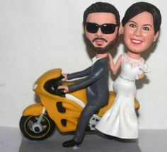 Motorcycle wedding cake toppers Custom cake topper with motorcycle Driving motorbike wedding cake topper The best gift for wedding