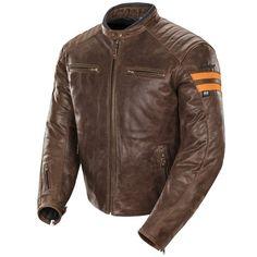 Joe Rocket's Classic '92 leather jacket left angular view brown with orange stripes