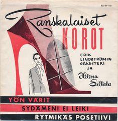 Erik Lindströmin Orkesteri Ja Helena Siltala - Ranskalaiset Korot (1959, Vinyl) | Discogs Vinyl Cover, Video Editing, 1950s, Album, Card Book