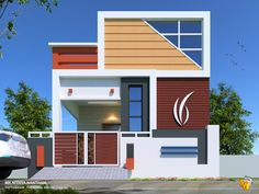 elevations of independent houses House Front Wall Design, Single Floor House Design, House Outside Design, Duplex House Design, House Design Photos, Small House Design, Modern House Design, Front Elevation Designs, House Elevation