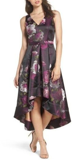 Women's Eliza J Belted Print High/low Party Dress. For a vintage look.