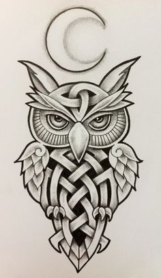Celtic Owl and Moon by Tattoo-Design.deviantart.com on @DeviantArt