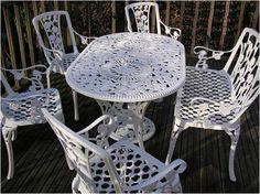 Elegant Classy Cast Aluminum Outdoor Furniture: Oval Gloss White Cast Aluminum Outdoor Furniture ~ bidycandy.com Exterior Inspiration
