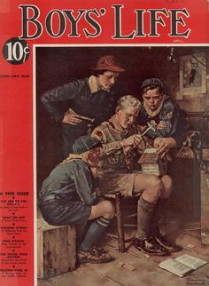 """February 1938 -- """"Protecting our boys' Christian moral values and masculine gender identity from today's 'gender confusion' agenda. Boys Life Magazine, Creepy Comics, Norman Rockwell Art, Camping Friends, Life Cover, Scout Leader, Vintage Comics, Vintage Magazines, Pulp Fiction"""