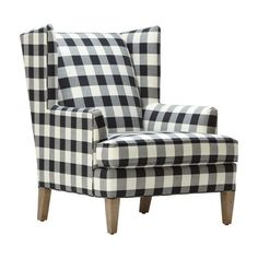 "Black & White - Buffalo Check Ethan ""Parker"" Chair - by Ethan Allen"