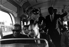 Ray Charles, Joe Adams and band members in the Orchestra's tourbus (1966). Photo by Bill Ray.