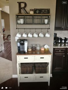 Gather all your coffee/tea items in one area. Coffee stations are becoming popular - convenient and eye-catching!