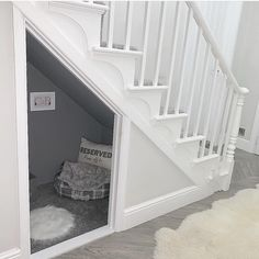 Dog bedroom under stairs Under Stairs Dog House, Under Stairs Nook, House Stairs, Living Room With Stairs, Under Stairs Playhouse, Design Hotel, Restaurant Design, Dog Room Decor, Dog Bedroom