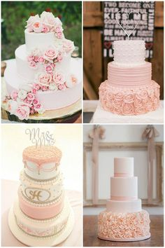 elegant floral blush wedding cakes