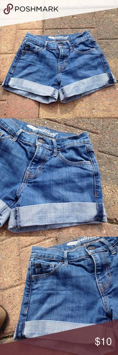 Old Navy Shorts Pre owned used condition.  Rolled up one extra, as my daughter wore them. Little longer than shown!!! Old Navy Shorts Jean Shorts