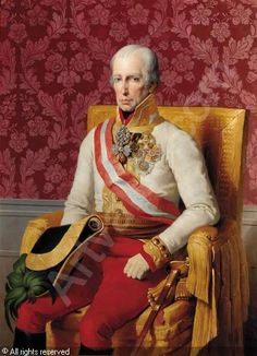 Portrait of Emperor Franz I, seated in an empire style chair and wearing military dress by Johann-Peter Krafft Die Habsburger, Spanish Netherlands, Basic Painting, Military Dresses, Cultura General, Holy Roman Empire, Neil Armstrong, Oil Portrait, Empire Style