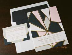 modern geometric wedding invitations - Bella Figura