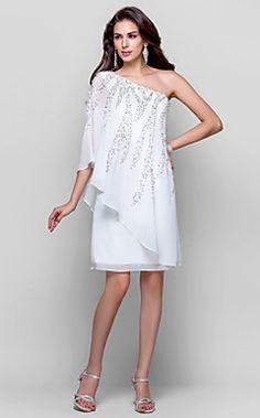 θήκη / στήλη έναν ώμο γόνατο σιφόν φόρεμα κοκτέιλ – EUR € 164.99
