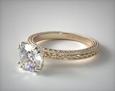 18K Yellow Gold Etched Rope Solitaire Engagement Ring | This beautiful split prong solitaire features an etched rope design enhanced by milgrain edges. Breathtaking simplicity with elegant design details. | Ring Style: 17962Y on JamesAllen.com. Click to view this ring in 360° HD.