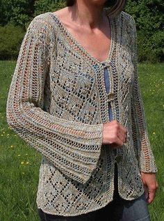 Free knitting pattern for Gala Print Cardigan with lace diamond pattern