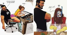Yehuda Adi Devir is a Tel-Aviv-based illustrator, comic artist and character designer who creates adorable comics about his daily domestic adventures with his wife, Maya.