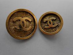 ButtonArtMuseum.com - Chanel Vintage CC Buttons Guaranteed Authentic Set of 2 Metal