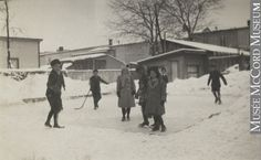 Children standing on ice rink and playing hockey, QC, about 1914 Harry Sutcliffe About century Silver salts on paper - Gelatin silver process x cm Gift of Peter, Paul, Robert and Carolyn Sutcliffe 3 Kids, Children, Canada Eh, Ice Rink, Gelatin, Salts, Montreal, Hockey, Photograph