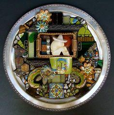 Assemblage mosaic in silver plate (note costume jewelry) (Carolyn Machado) portfoliohttp://machadoart.net/mosaic.html#