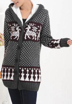 Grey Hooded Long Sleeve Deer Pattern Cardigan Sweater