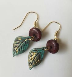 A personal favorite from my Etsy shop https://www.etsy.com/listing/280290062/handmade-turquoise-leaf-earrings-on-gold