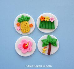 12 Edible Fondant Cupcake Toppers - Hawaiian luau themed by Edible Designs By… Hawaii Cupcakes, Hawaii Cake, Beach Cupcakes, Kid Cupcakes, Hawaii Hawaii, Fondant Cupcake Toppers, Fondant Cookies, Cupcake Cookies, Hawaian Party