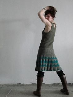 Knitted dress with chevrons