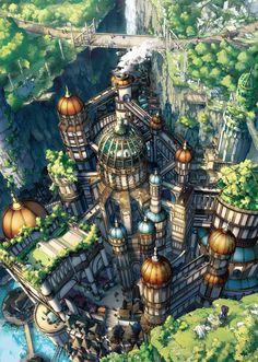 崖の下にある小さな魔法の国  ◆冬コミ受かりました! ◆評価やコメント、タグ等ありがとうございます!!#fantasy#lanscape#illustration#anime#town#building